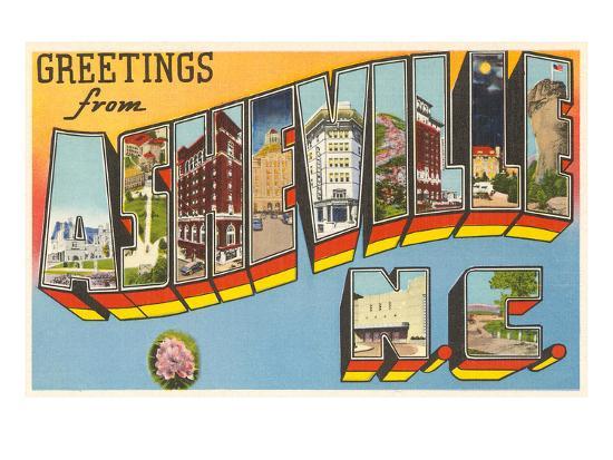 Greetings from Asheville, North Carolina--Art Print
