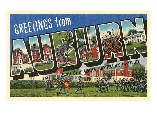 Greetings from Auburn, Alabama Art Print by | Art com