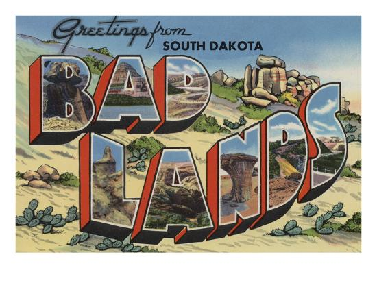 Greetings from Badlands, South Dakota-Lantern Press-Art Print