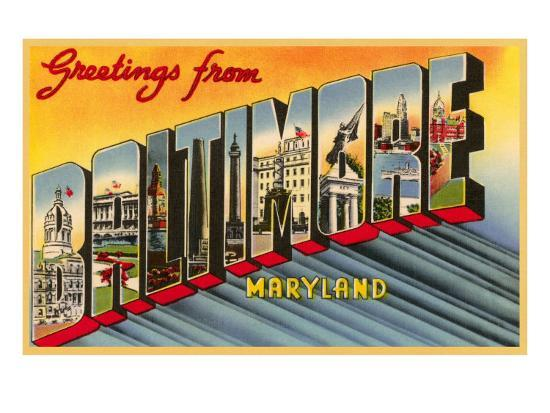 Greetings from Baltimore, Maryland--Art Print