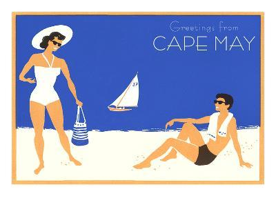 Greetings from Cape May, New Jersey, Beach Couple--Art Print