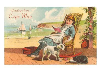 Greetings from Cape May, New Jersey, Girl on Porch--Art Print