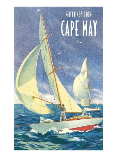 Greetings from Cape May, New Jersey, Sailboats--Art Print