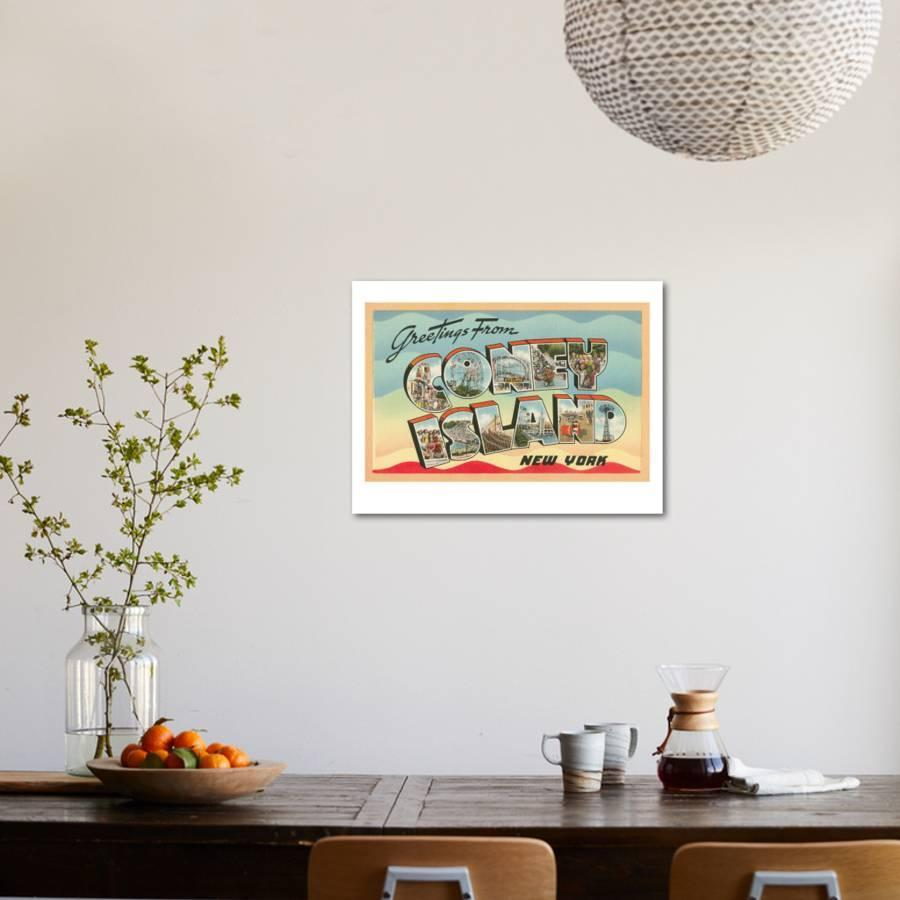 Greetings From Coney Island New York Art Print By Art