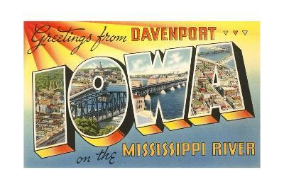 Greetings from Davenport, Iowa on the Mississippi River--Giclee Print