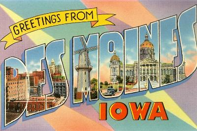 Greetings from Des Moines, Iowa--Giclee Print