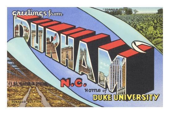 Greetings from Durham, North Carolina--Art Print