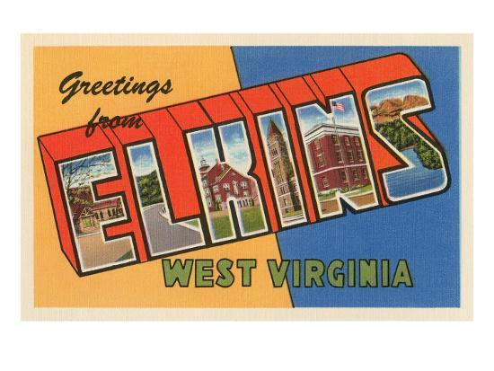 Greetings from Elkins, West Virginia--Art Print