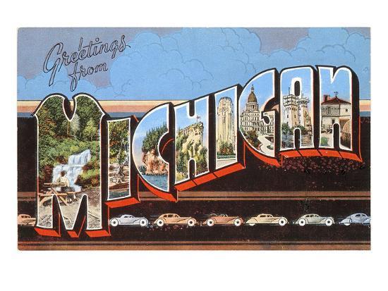 Greetings from Michigan--Art Print
