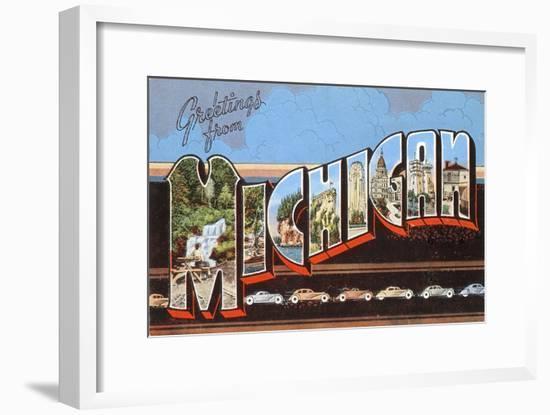 Greetings from Michigan--Framed Art Print
