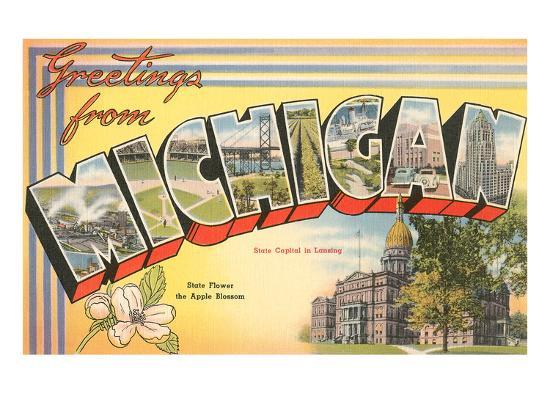 Greetings from michigan art print by art greetings from michigan art print m4hsunfo
