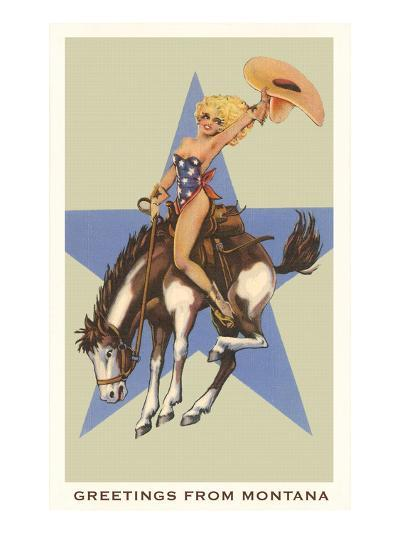 Greetings from Montana, Lady Rider--Art Print