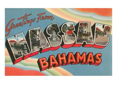 Greetings from Nassau, Bahamas--Art Print
