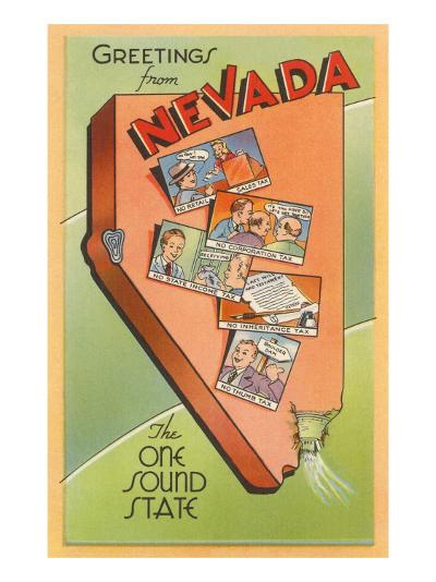 Greetings from Nevada, Map--Art Print