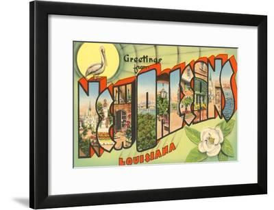 Greetings from New Orleans, Louisiana--Framed Art Print