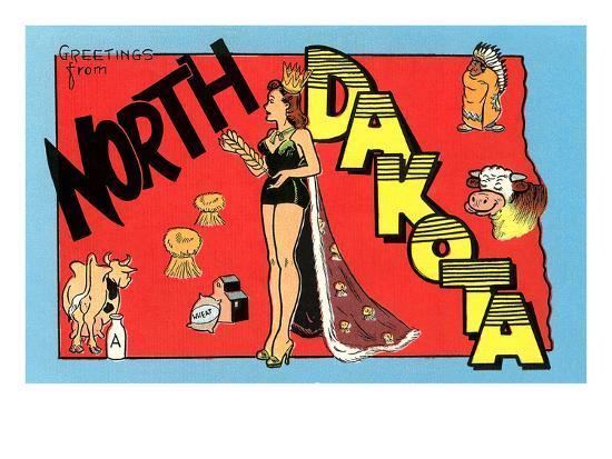 Greetings from North Dakota--Premium Giclee Print