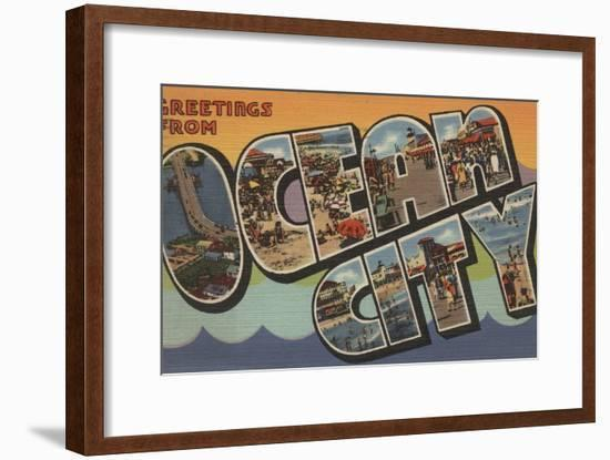 Greetings from Ocean City-Lantern Press-Framed Art Print