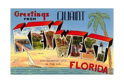 Greetings from Quaint Key West, Florida, the Southernmost City in the U.S.--Giclee Print