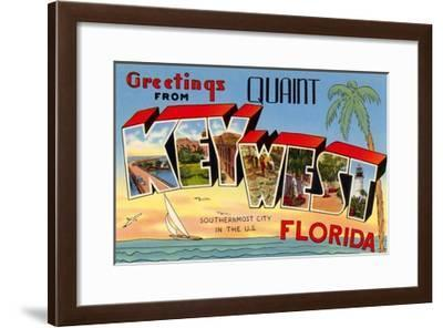 Greetings from Quaint Key West, Florida, the Southernmost City in the U.S.--Framed Giclee Print