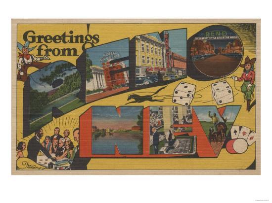 Greetings from Reno, Nevada - Reno, NV-Lantern Press-Art Print