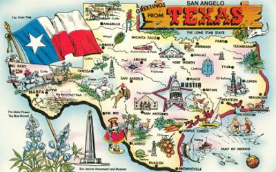 Greetings from San Angelo, Texas, the Lone Star State, Map