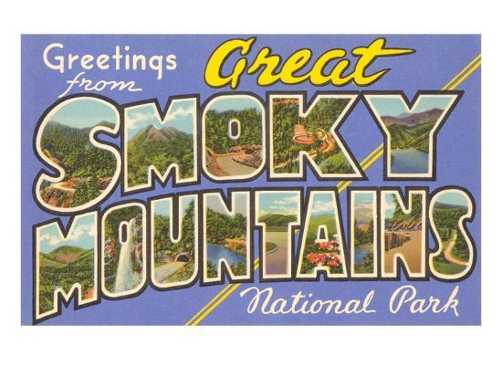 Greetings from Smoky Mountains--Art Print
