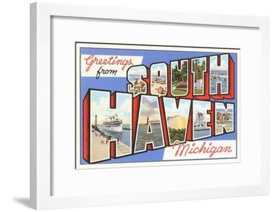 Greetings from South Haven, Michigan--Framed Art Print