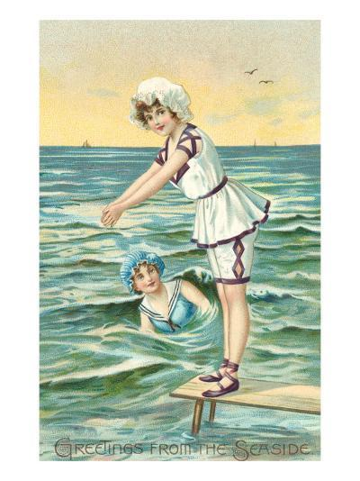 Greetings from the Seaside, Two Victorian Girls--Art Print