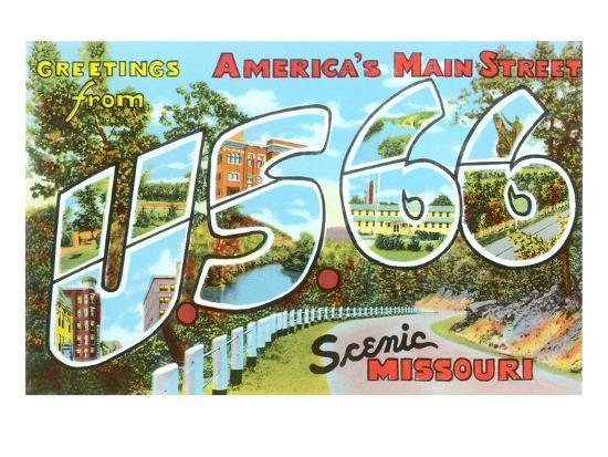 Greetings from US 66, Missouri--Art Print