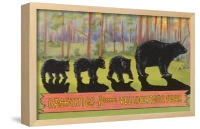 Greetings from Yellowstone National Park, Bears--Framed Giclee Print