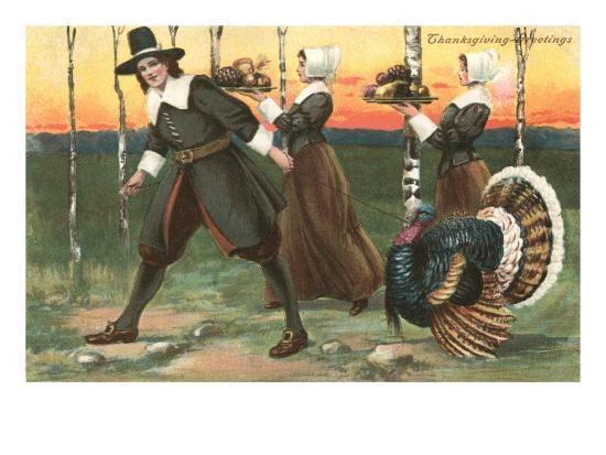 Greetings, Pilgrims Carrying Food--Art Print