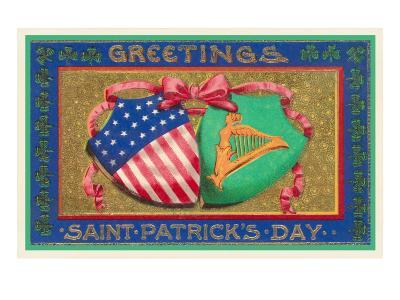 Greetings, St. Patrick's Day, American Shield--Art Print