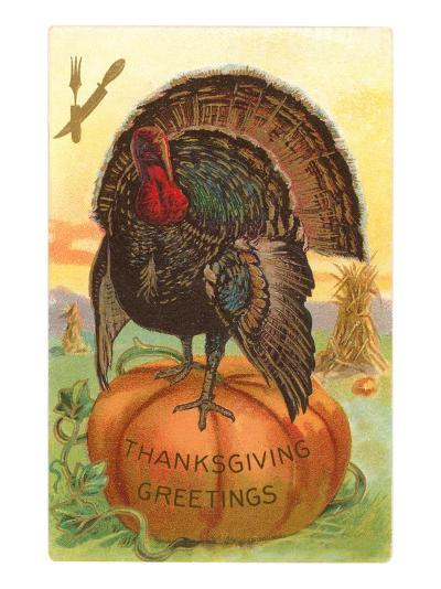 Greetings, Turkey on Pumpkin--Art Print