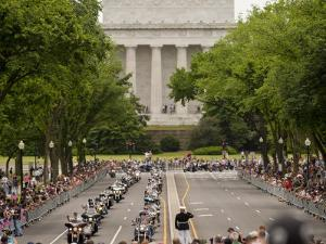 Marine Soldier Salutes the Rolling Thunder Parade on Memorial Day by Greg Dale