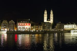 Old Town Zurich, Grossmunster Cathedral, and the Limmat River by Greg Dale