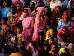 Crowd of Women in Traditional Dress, Jaisalmer, Rajasthan, India by Greg Elms