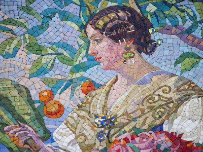 Detail of Mosaic on Modernista Facade of Estacion del Norte, Valencia, Spain