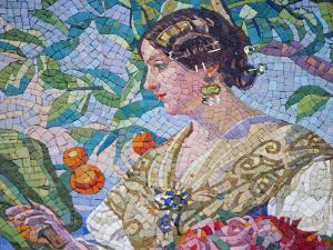 Detail of Mosaic on Modernista Facade of Estacion del Norte, Valencia, Spain by Greg Elms