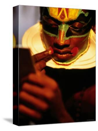 Kathakali Dancer Applying Make-Up, Kochi, Kerala, India