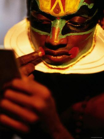 Kathakali Dancer Applying Make-Up, Kochi, Kerala, India