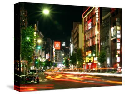 Moving Lights on Street of Roppongi at Night, Tokyo, Japan