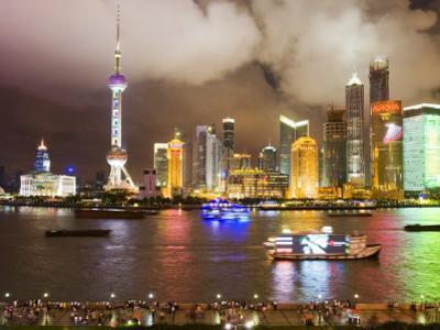 Pudong Skyline at Night, Seen from M on the Bund Restaurant
