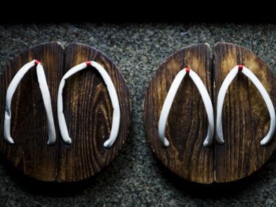 Traditional Wooden Thongs Outside a Kaiseki Restaurant