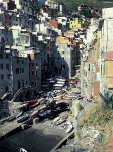 Boats on Downtown Shore, Cinque Terre, Italy by Greg Gawlowski