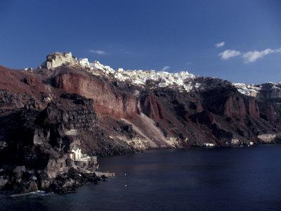 Village of Ia From Ferry, Santorini, Greece