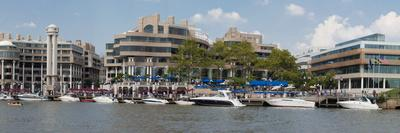 Georgetown Waterfront with Restaurants and Boats Along Potomac River