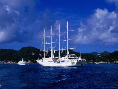Four-Masted Luxury Yacht in Harbour, St. Barts