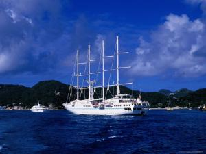 Four-Masted Luxury Yacht in Harbour, St. Barts by Greg Johnston