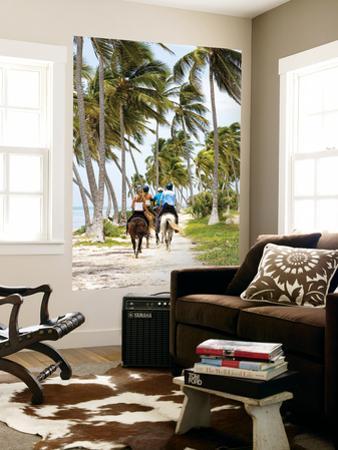 Tourists Horseback Riding Along Beach Trails