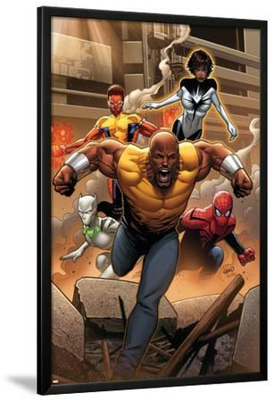 Mighty Avengers #1 Cover: Cage, Like, White Tiger, Spider-Man, Power Man, Spectrum by Greg Land